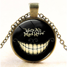 Alice in wonderland necklace cheshire cat We are all mad here pendant handmade bronze sliver choker necklace children gift 2017(China)