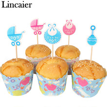 Lincaier 18 Pieces Baby Shower Cupcake Toppers BabyShower Favors Party Supplies Decorations Its a Boy Girl Blue Game