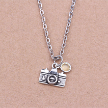 45+5cm Retro Silver Link Chain Necklace Birthstone Fashion Jewelry Digital Cameras Pendant Charm Necklace For Women Girl Gift