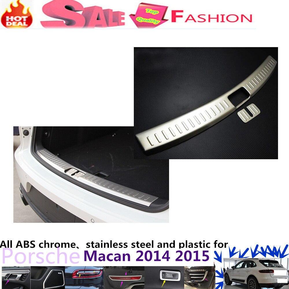 Car body inner inside internal Rear Bumper trim Stainless Steel Scuff Sill trunk plate pedal 1pcs P0R5CH0 Macan 2014 2015<br><br>Aliexpress