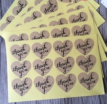 "120PCS/lot Vintage ""Thank you"" series romatic Heart Kraft Paper Sticker for Handmade Products multifunctional Gift seal label"