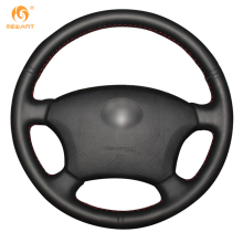 Mewant Black Genuine Leather Car Steering Wheel Cover for Old Toyota Land Cruiser Prado 120