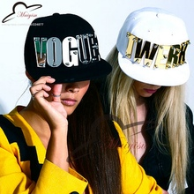 mirror Acrylic custom letters fashion men women sports baseball caps studded snapback hats for man woman(China)