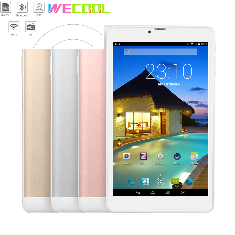 7 inch WeCool 3G Phone Tablet PC with IPS 1024x600 Resolution Android 4.4 MTK Quad Core Dual SIM GPS Navigate FM Radio 4 Colors (Hong Kong,China)