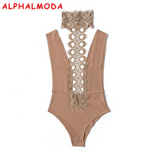 Buy ALPHALMODA Women Backless Sexy Bodycon Bodysuits Hollow Lace Halter Neck Femme Romper Sleeveless Shorts Playsuits