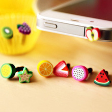 10pcs Earphone Limited Dust Plug Dachshund 2015 New Cute fruit Dustproof Plug Caps Cell Phone Accessories