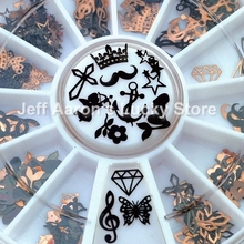 12 Shapes 3D Metal Christmas Nail Art Decoration Slice Black Nail Stickers Decal Foil Wheel NEW(China)