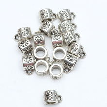 Free Shipping 50 pcs/lot Antique Silver Beads Tibetan silver Big Hole Charm For European Beads Connectors Findings 100% New
