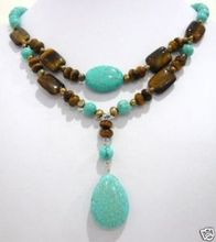 handmade Asian Tibet silver tiger's-eye beads brown freshwater pearl blue stone necklace fashion jewellery