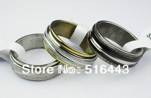 Wholesale Jewelry Lots 10pcs Double Layer Spin Stainless steel Men Womens Mix Frosted Bulk Rings A-304