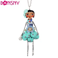 Bonsny Doll Necklace Dress Handmade Paris Doll Pendant trendy 2016 News Alloy Girl Women Flower Fashion Jewelry Accessories(China)