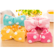 2pcs New Multifunctional Flannelette Bows Elastic Headband For Bath Shower Exercise Headwear Hair Accessories For Woman Hairband(China)