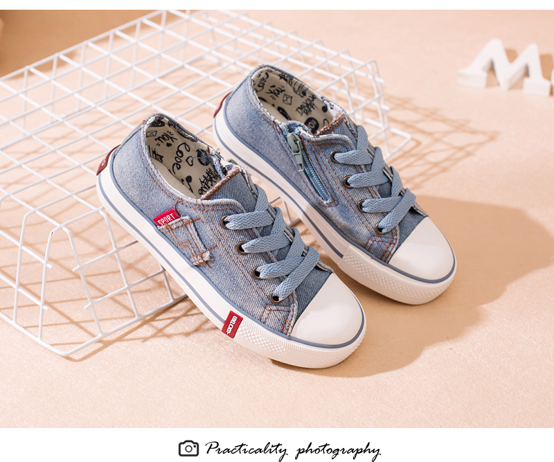Denim Jeans Boys Sneakers Kids Shoes Girls New 2018 Brand Autumn Fashion Zip Canvas Breathable Casual Rubber Sole Children Shoes 1701 (5)