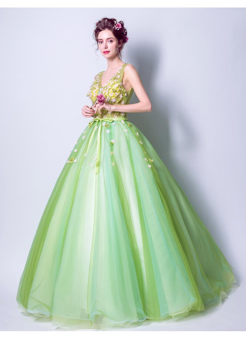 Angel Wedding Dress Marriage Bride Bridal Gown Vestido De Noiva 2017Soft powder, Qingjian Lvxian beauty, petals, green 9718 17