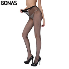 Buy BONAS Nylon Fishnet Pantyhose Women Thin Black Small Mesh Tights Fashion Solid Color High Elasticity Girls Tights Summer Style