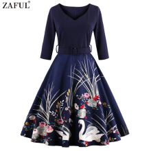 ZAFUL Elegant Black Swan Print 50s Vintage Dress V Neck 3/4 Sleeved High Waist Belts Zipper Swing Party Retro Feminino Vestidos(China)
