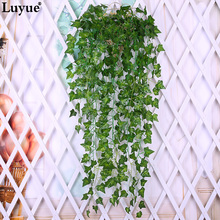 Luyue 2pcs Artificial Ivy Silk Greenery Plants Leaves Garland Plants Vine Fake Flower Rattan Foliage Home wedding decor(China)