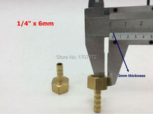 "copper fitting 6mm Hose Barb x 1/4"" inch Female BSP Brass Barbed Fitting Coupler Connector Adapter"