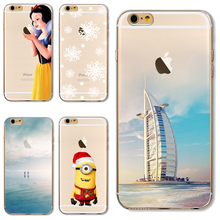 Soft TPU Cover For Apple iPhone 5 5S SE 6 6S 6Plus 6SPlus 7 7 Plus Case Phone Shell Luxury Painted Ship Snow White Exquisite