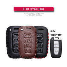 KUKAKEY For Hyundai Auto Car Key Case Leather Key Cover For Hyundai Elantra Sonata Tucson Verna I30 IX45 Key Coldre Bag Cover(China)