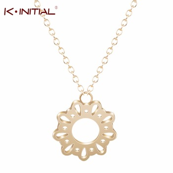 1Pcs Hot Sale Gold Silver Plated Hollowed-out Round Chain Necklaces Pendant for Woman Round Circle Lace Necklace Fashion Jewelry