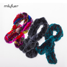 Milyfuer Rex Rabbit Fur Scarf Solid Print Floral Soft Lady Scarves Knitting Autumn Winter Keep Warm Women Natural Fur Scarves