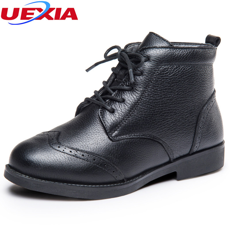 Winter Fur Leather MotorcycleOxford Flats Ankle Woman Boots High Top Lace Up Low Heels Platform Comfortable Autumn Female Shoes<br>