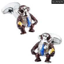 Funny Cool Animal Cufflinks Monkey Design  Enamel Cuff links for Men for Party White Shirt