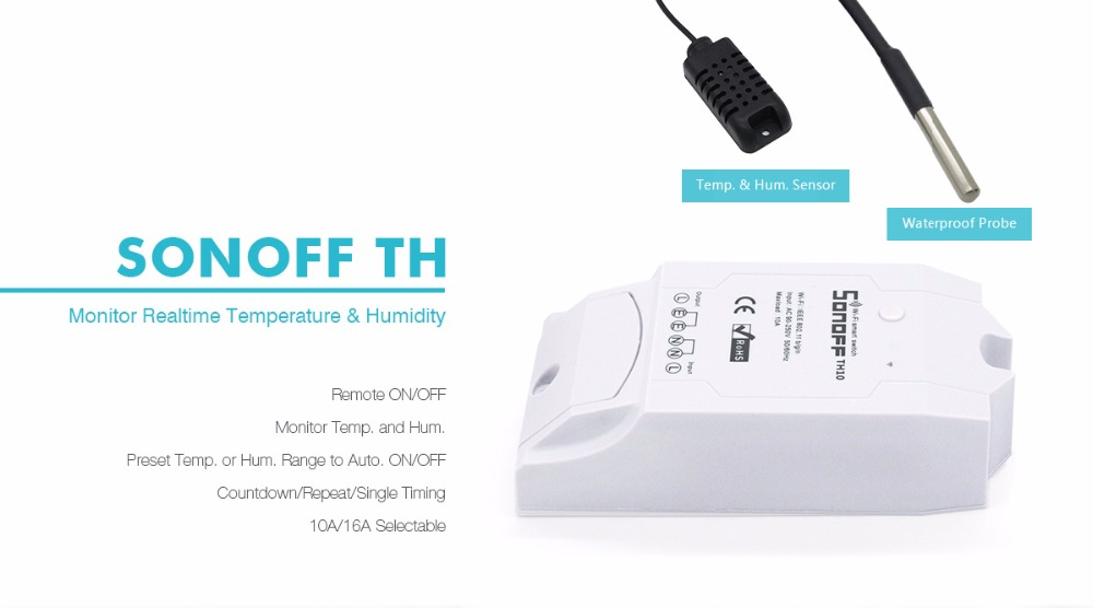 Sonoff TH 10A/16A Wireless Switch WiFi Smart Remote Control Temperature Sensor Humidity Monitoring For Smart Home Automation