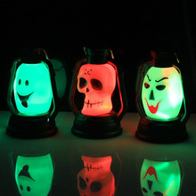 Halloween Decoration Party Accessories Portable Lantern Pumpkin Night light Skull Witch Ghost Colorful Hanging LED Lamp TC71