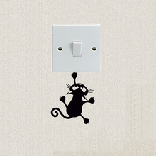 Lovely Pet Cat Vinyl Decal Personality Switch Stickers Decoration 2SS0560(China)
