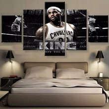 5 Pieces The King Basketball Fans Football Posters Oil Painting On Canvas Modern Home Pictures Prints Decor Living Room Bedroom(China)