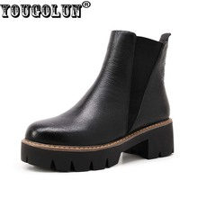 Buy YOUGOLUN Women Ankle Boots 2017 Autumn Black Genuine Leather Square Heel 5 cm Heels Thick Heel Round toe Platform Shoes #Y-061 for $44.88 in AliExpress store