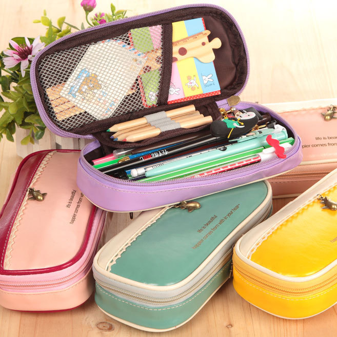 New Cute Kawaii Pink/Yellow/Green/Red Leather And Lace Pencil Case School Pencil Bag For Girls Korean Stationery Free Shipping<br><br>Aliexpress