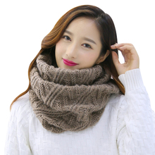 Wool Knitted Womens Ring Scarf Cashmere Collar 2017 Winter Warm Shawls And Wraps Ladies Cotton Scarves Neck Warmer Foulard Femme(China)