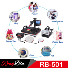 "5 in 1 Swing Heat Press Machine Digital T-shirt Heat Transfer 12"" x 15"" Sublimation Transfer Machine for Mug Cap Hat Plate Print(China)"