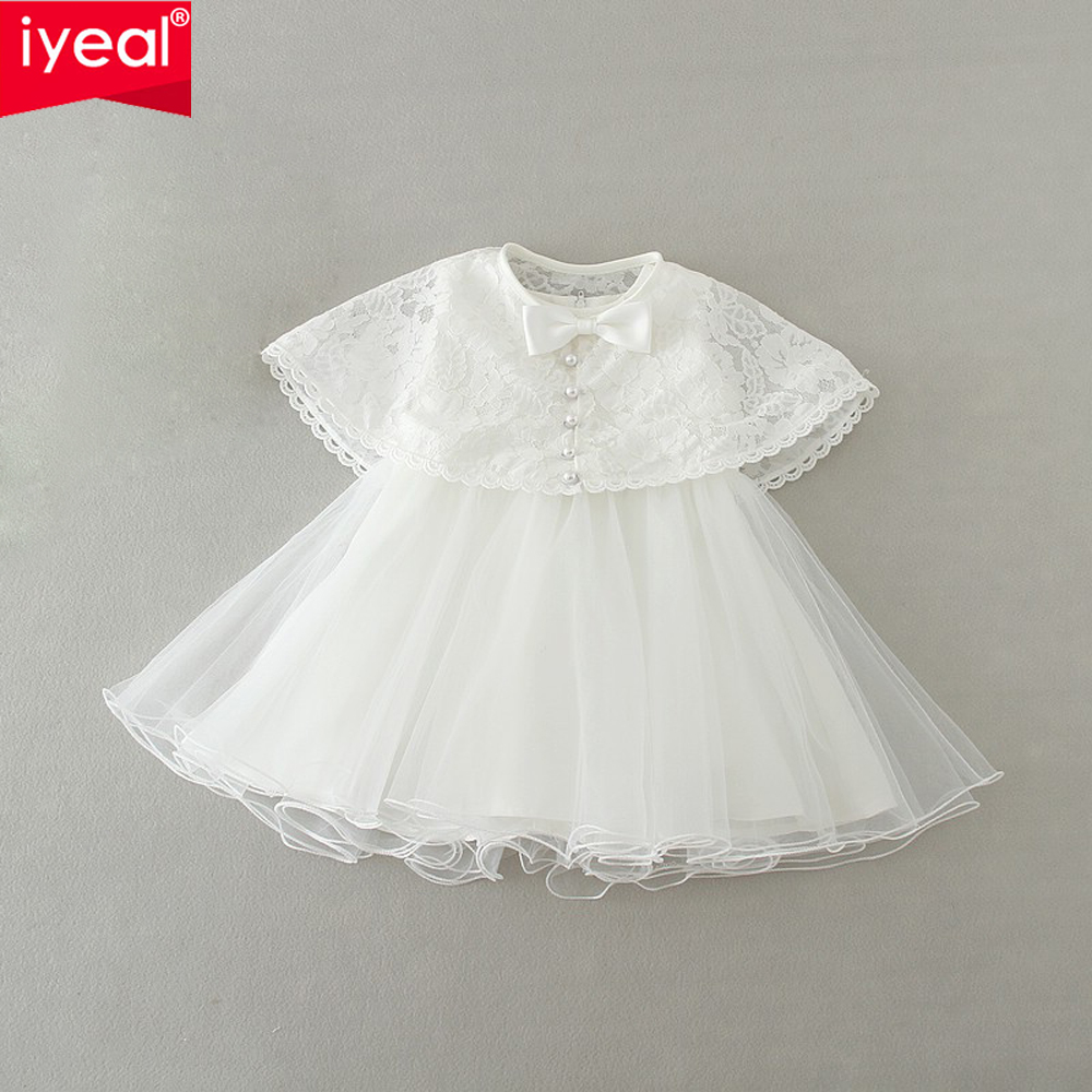 2017 New Infant Baby Girls 1 year Birthday Dress With Lace Shawl Kids Children Wedding Party Dresses Little Girl Clothes 0-2Y<br><br>Aliexpress