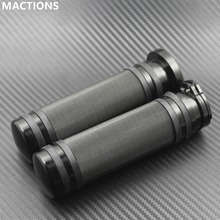 "1Pair Motorcycle 1""25mm Black Aluminum CNC Handle Bar Hand Grips For Harley Sportster Touring Dyna Softail Custom(China)"