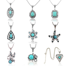 Bohemian Vintage Crystal Butterfly/Flower/Hollow Tree/Heart Shape Pendant Silver Chain Necklace Fashion Women Jewelry(China)