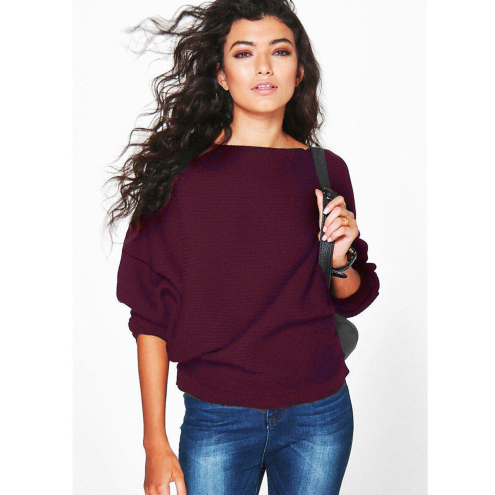 Women's Autumn, Winter Loose, Long Bat Wing Sleeve Sweater, New Pullovers Thin Sweaters Jumper 9
