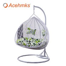 Two-person Waterproof Pad Rattan Wicker Hanging Egg Swing With Cushion Outdoor Patio Garden Chairs Cheap For Factory Sale(China)
