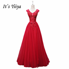 It's YiiYa Red New Pink V-Neck Sleeveless Prom Dresses Pattern Beading Pearls Simple Appliques Bow Floor Length Prom Gown L021