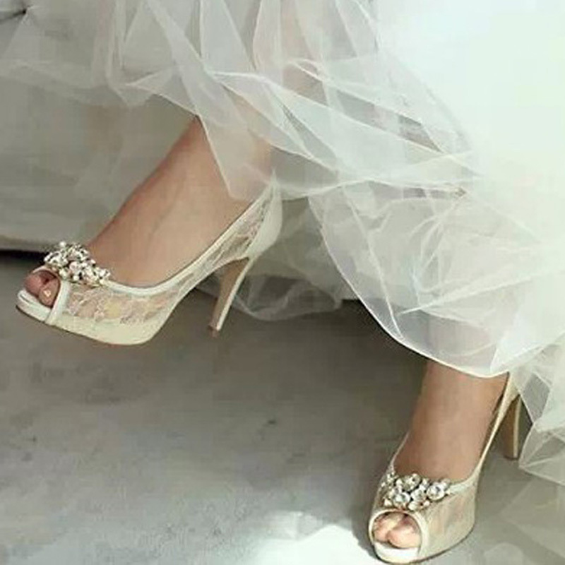 Woman High Heels Wedding Dress Shoes Bridal Dress Shoes Luxurious Graduation Party Prom Shoes Peep Toe White Lace Bride Shoes<br><br>Aliexpress