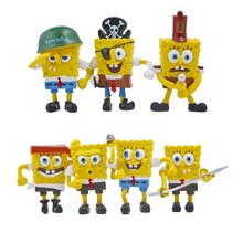 7pcs/lot Spongebob Figure Toys Doll Sponge Bob Cosplay PVC Action Figures Toy Anime Figure Classic Kids Toys for Boys Girls Gift