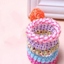 10 Pcs Fashion Telephone Wire Elastic Silicone Rubber Bands Spring Gum For Hair Donut Hairband Accessories Cintillos Women Girls(China)
