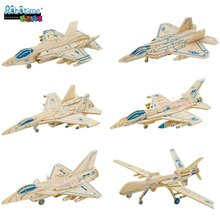 Robotime 3D wooden plane model puzzle toy jigsaw assemble Air strike fighter aircraft J-10 Su-27 F-35 F-16 F-22 MQ-9 1pc