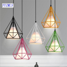 6 color modern black birdcage pendant lights iron minimalist Scandinavian loft pyramid lamp metal cage with led bulb