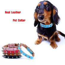 Classical Pet Genuine Real  Leather Spiked Dog Collar Punk Studded Small Large Dog Collar Bichon Chihuahua Pet Shop Supplies