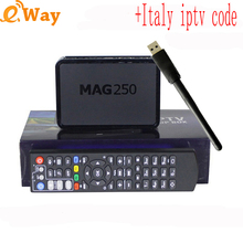 With 1 Year ip tv account European Arabic Spain Turkish UK dutch Italy IPTV code APK Linux MAG 250 tv box USB WIFI Set Top Box(China)