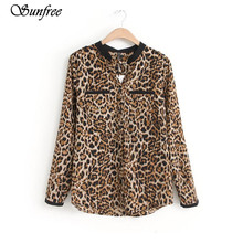 Sunfree New Hot Sale Fashion New Women Leopard Print Long Sleeve Chiffon Shirt Slim Casual Blouses Brand New High Quality Dec 8